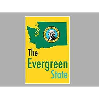ArtsyCanvas Washington-the Evergreen State Map Flag (Poster), 36 x 24