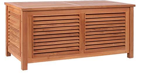 Mr. Deko Teak Aufbewahrungsbox Grande II - Teak - Box - Truhe - Aufbewahrungsbox - Kiste - Outdoormöbel - Teakholz - für Balkon, Terrasse, Wintergarten, Garten