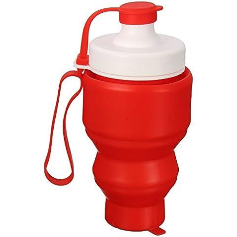 MaMaison007 530ML silicona portátil retráctil plegable agua suave taza pesca al aire libre viajes botella Camping-rojo