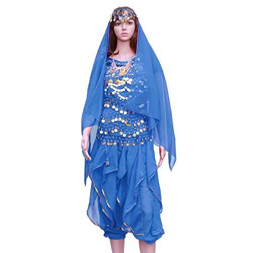 FENICAL 5 Teile/Satz Indischen Tanz Bauchtanz Kurzarm Rotary Hosen Leistung Set (See Blau, Tops + Pants + Taille Kette + Headwear Schleier + Halskette)