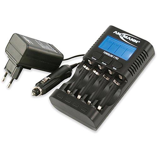 ANSMANN Powerline 4 Pro Akkuladegerät / Multifunktionale Akku Ladestation für 1-4 NiMH/NiCd-AA oder AAA Akkus / Kapazitätstester & Akkupflegegerät mit USB-Buchse für Smartphone & mobile Geräte