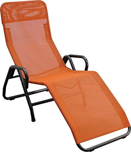 AP Auple Relaxliege Gartenliege Faltbare Sonnenliege Schaukelliege Liegestuhl Schaukelstuhl Klappbar Schaukelsessel inkl Nackenkissen @Orange