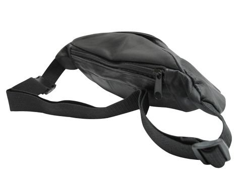 Banane-Tasche aus feinstem Lammleder, Schwarz Schwarz - Schwarz