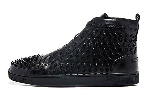 saman-sneakers-sportschuhe-unisex-spikes-flach-geschnurt-louis-kalbleder-schwarz-sohle-in-rot-herren