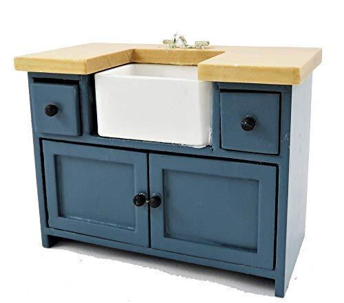 Melody Jane Puppenhaus Blau & Kiefer Waschbecken Einheit mit Belfast Waschbecken Modern Küchenmöbel -