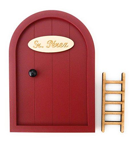 Puerta Ratoncito Pérez de madera varios colores + Escalera + Felpudo + Ratoncito de madera / Decoraciones de pared con adhesivo (Granate)