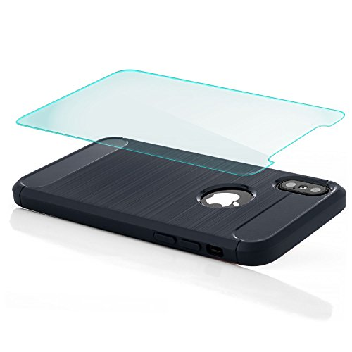 zanasta Hülle + Panzerglas für Apple iPhone X - TPU Silikon Case Back Cover Premium Schutzhülle Brushed Metallic Design Handyhülle Schwarz Dunkelblau