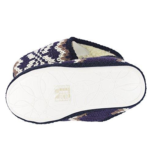 BTS–pantofole per donna, Caldo con lavorazione a maglia norvegesi e fodera interna, colori bianco, Navy Gr 37/38–41/42 blu navy