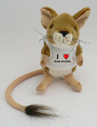 Peluche souris sauteuse, personnalisé avec un T-shirt J'aime Jean-Michel (Noms/Prénoms)