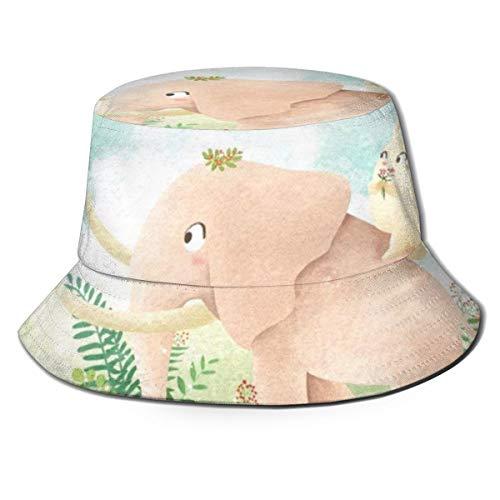 Sombrero de Cubo de Elefante y Conejo Sombreros de Pescadores de patrón Animal de Moda para Mujer Gorra Reversible Empacable