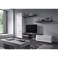 Habitdesign 016669G - Mueble de Salon, Comedor, Acabado en Gris Ceniza y Blanco Brillo, Medidas: 240 x 180 x 42 cm de Fondo