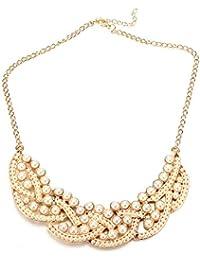 TOOGOO(R) Gargantilla dorado hueca de perla de moda Collar de babero Collar de pendiente