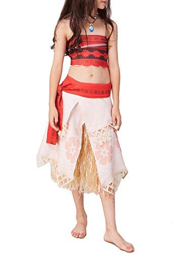 üme Halloween Moana Kostüme Prinzessin Kleid Rock Mädchen Damen Kinder (Vaiana Kostüme Rock&Top Sets, Etikett 140CM für Körpergröße 128-138cm) (Top Kinder Kostüme Für Halloween 2017)