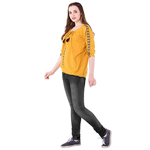 AANIA Women's Cotton Embroidered Top(aania055, Mustard, Large)