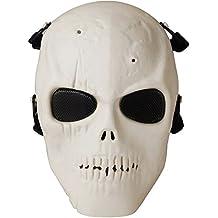 Coofit Masque Airsoft Paintball Masque deguisement Halloween Masque protection Masque fantôme (Beige, Taille unique)