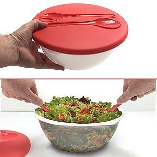 Large 160oz Salad / Storage / Serving Bowl With Built In Serving Spoons by Vortex