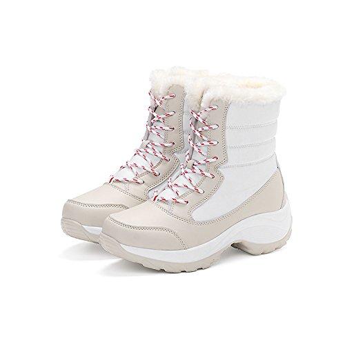 HSXZ Scarpe donna pu Fluff invernale Fodera comfort moda Stivali Stivali Null rotonda piatta Mid-Calf Toe stivali merletto di cucitura per outdoor casual rosso Red