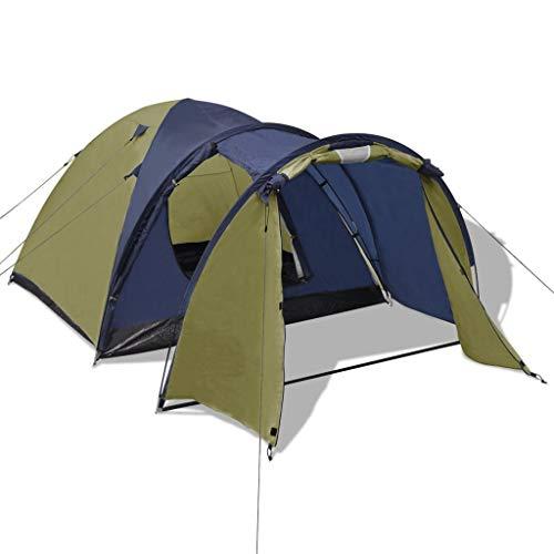 Nishore 4-Personen Zelt Tunnelzelt, Campingzelt, leichtes Trekkingzelt, wasserdicht Grün 330 x 210 x 130 cm