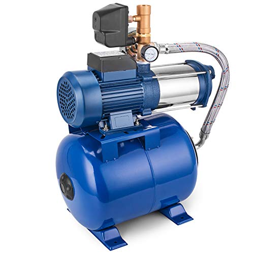BuoQua MC-1300 Kreiselpumpe 100L Edelstahl Kreiselpumpe Jetpumpe Gartenpumpe 220V Hauswasserwerk