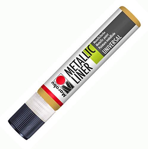 Metallic Liner, Effektfarbe auf Wasserbasis, für schimmernde Metalliceffekte auf Stoff, Holz, Metall u.v.a.,, speichelecht, einfache Fixierung, 25 ml, gold ()