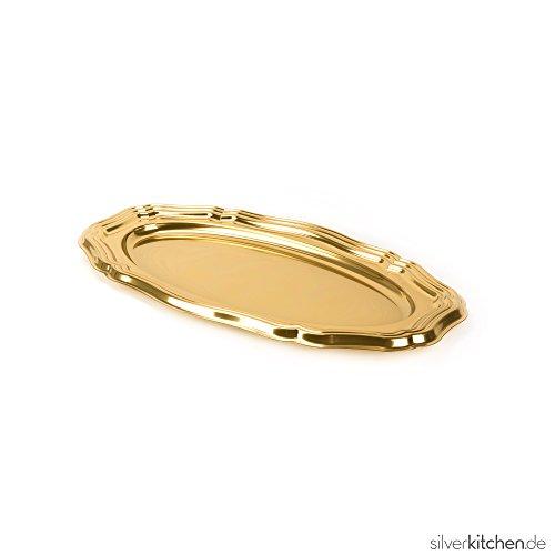Silverkitchen 5 Stück Einweg Servierplatte aus Plastik für Buffet Promotion Catering Verkostung u.v.m. | Robustes Einweggeschirr in Hochwertiger Qualität | Gold oval 58x30 cm
