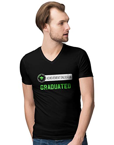 Achievement Unlocked Graduated Pregnancy Herren V-Neck T-Shirt L
