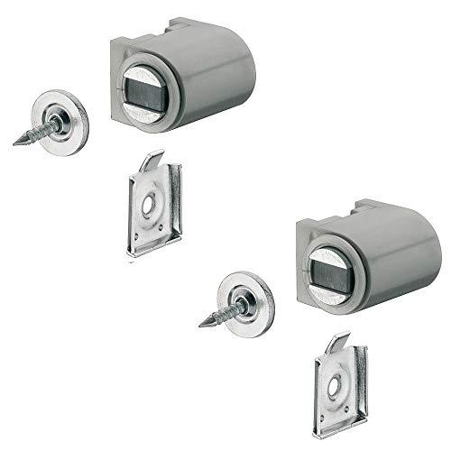Preisvergleich Produktbild Magnetverschluss silber mit Anschraubplatte Magnetschnapper Tür zum Schrauben - H2059 / Türmagnet Haftkraft 4, 0 kg / MADE IN GERMANY / 2 Stück mit Gegenplatte