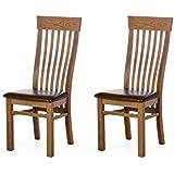 Alkove - Hayes - Set de 2 sillas clásicas de madera con asiento tapizado (roble salvaje)