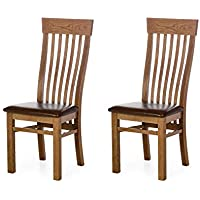 Alkove - Hayes - Set da 2 sedie classiche con seduta imbottita, in quercia selvatica
