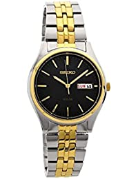 Gents/Mens Two Tone Stainless Steel Seiko Solar Watch on Bracelet with Black Dial, Day & Date. SNE034P1