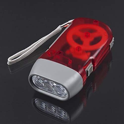 ukYukiko Dynamo-Taschenlampe mit 3 LEDs, zum Aufziehen, Handdrücken, Kurbel, NR Camping