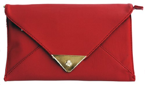 Monte Lovis elegante Abendtasche Briefumschlag Mini Bag mit Reiß- und Drehverschluss aus hochwertigem Rindsleder 21 x 13 cm (B x H) - Inkl. Trageriemen - In vielen trendigen Farben (Rot)