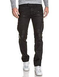 BLZ jeans - Jean homme noir huilé cargo zips fantaisie