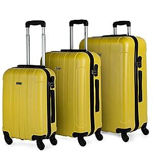 ITACA - Set di tre valigie con trolley 4 Ruote 55/64/73 cm ABS. Resistente e leggero. Maniglia con maniglia lucchetto. Small Cab Ryanair a basso costo, medio e grande. 771100, Color Giallo