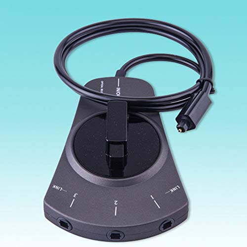 Shentesel 3-Wege-In/Out Digitaler Toslink-Audio-Splitter, manueller Schalter, Glasfaserkabel, Schwarz