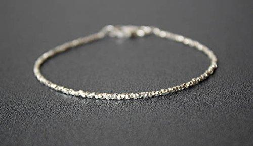 Karen Hill Silberarmband Super Skinny Silber Armband All Silber Armband Dainty Beads Edelstein Stacking Armband Karen Hill Silber 1,8mm - Skinny Armband