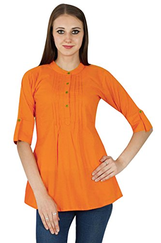 Boho Sundress Top Robe Tunique Vêtements Pour En Coton Solide Orange