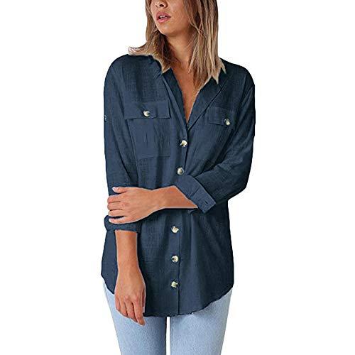 Damen Blusen Lang T-Shirt mit Knopf Longshirt Baumwolle Tunika Frauen Oberteile Casual Langarmshirt Hemd (XL, Navy) -