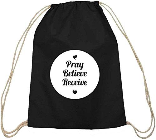 Pray Believe Receive, Jesus christlicher Baumwoll natur Turnbeutel Rucksack Sport Beutel schwarz natur