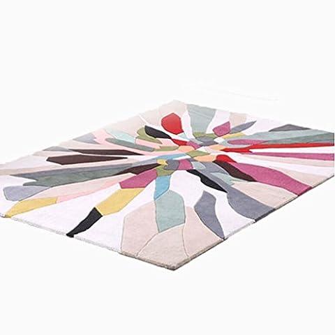 Rollsnownow Salon Chambre Tapis Moquette Tapis rouge Matériau acrylique blanc