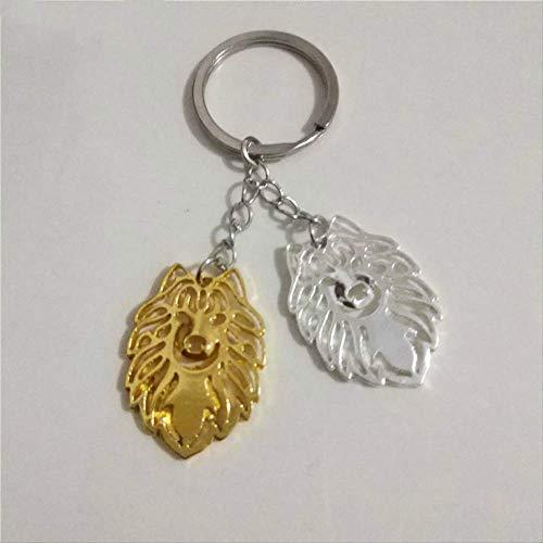 Mode Niedlichen Samojeden Hund Schlüsselanhänger Frauen Tasche Charme Anhänger Zubehör Autoschlüssel Ring Haustier Schmuck Gold Farbe Silber Farbe -