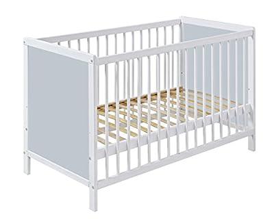 Cuna bebé 120cm x 60cm madera color BLANCO con lados GRIS PASTEL. ENVÍO GRATIS