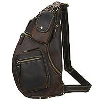 Lannsyne Genuine Leather Sling Chest Bag Crossbody Single Strap Daypack Backpack for Men