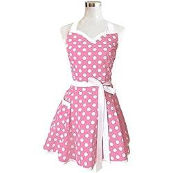 Lovely corazones rosa Retro salón de cocina delantales de mujer niña algodón diseño de lunares cocinar delantal.