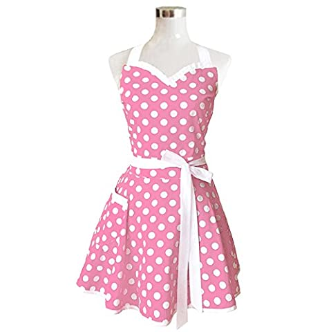 Tablier de cuisine pour femme, rose, rétro, en coton Polka, à points, tablier vintage style robe de Noël
