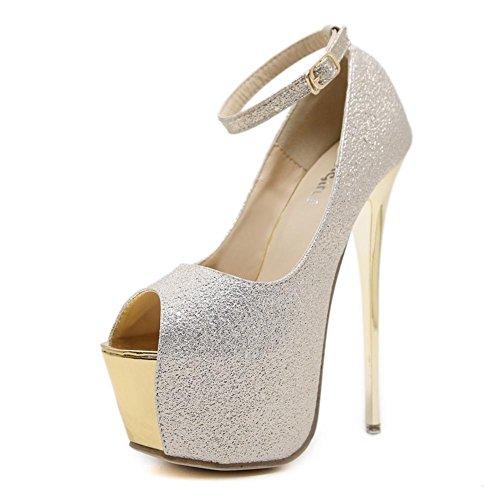 Best 4U® Sandali da donna Estate Premium PU Peep toe 17 CM Tacchi alti 6 CM Scarpe con plateau Glitter Pompe tinta unita , Silver , EU35