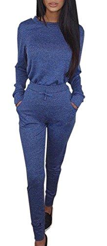 Monika Donna Sweatshirt Pantaloni Leggings Abbigliamento Sportivo de Running Yoga Fitness + Maglieria Tute da Ginnastica Camicie T-Shirt Bluse a Maglione Tops Blu