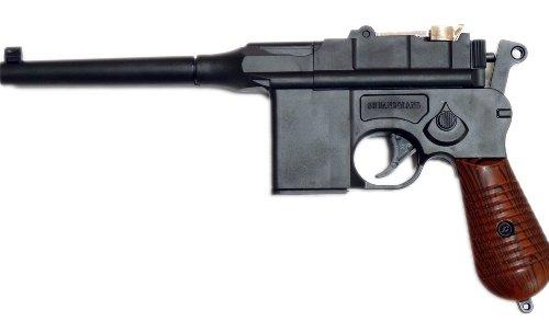 Softair-Pistole Weltkrieg Offizier 6 mm schwarz braun Federdruck ca. 30 cm lang unter 0,5 Joule ab 14 Jahre (30 Kaliber-pistole)