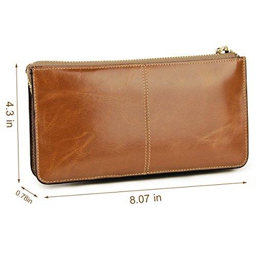 Lecxci �?Pochette da donna in vera pelle con cinturino da polso, per carte di credito, smartphone, contanti Apricot