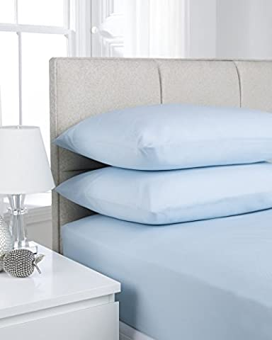ShawsDirect Plain Dyed Poly Cotton Fitted Sheet (King Size, Ice Blue)